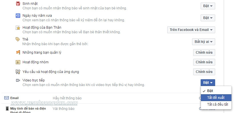 Cach tat thong bao live stream tren facebook