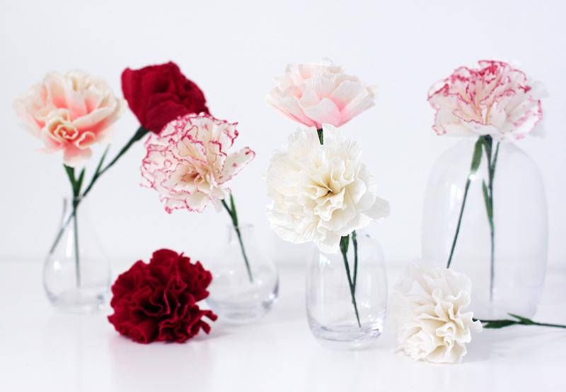 Cách làm hoa cẩm chướng bằng giấy nhún