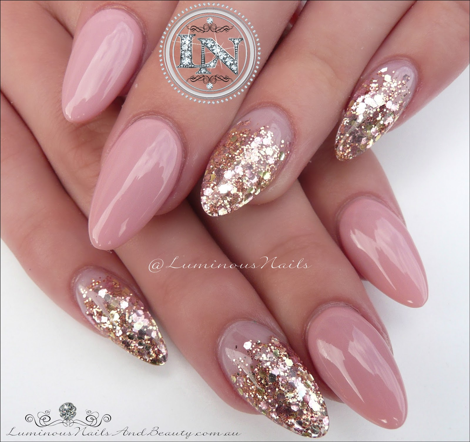 luminous nails: stunning nude nails with antique gold glitter