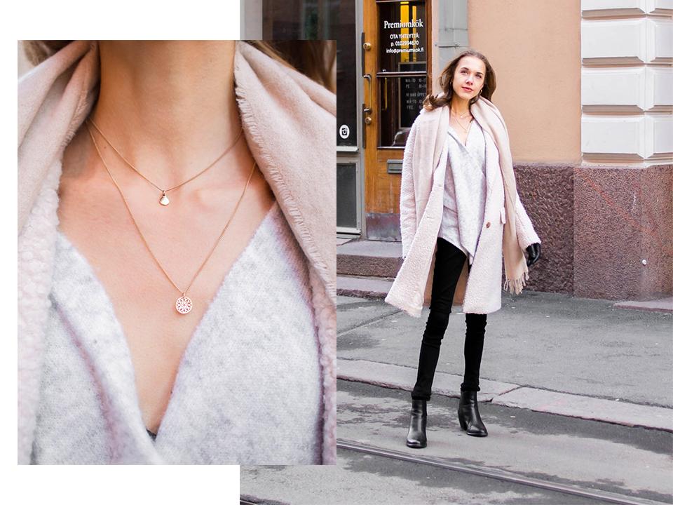 Dainty golden jewellery, outfit details - Sirot kultaiset kaulakorut, talvimuoti, yksityiskohdat