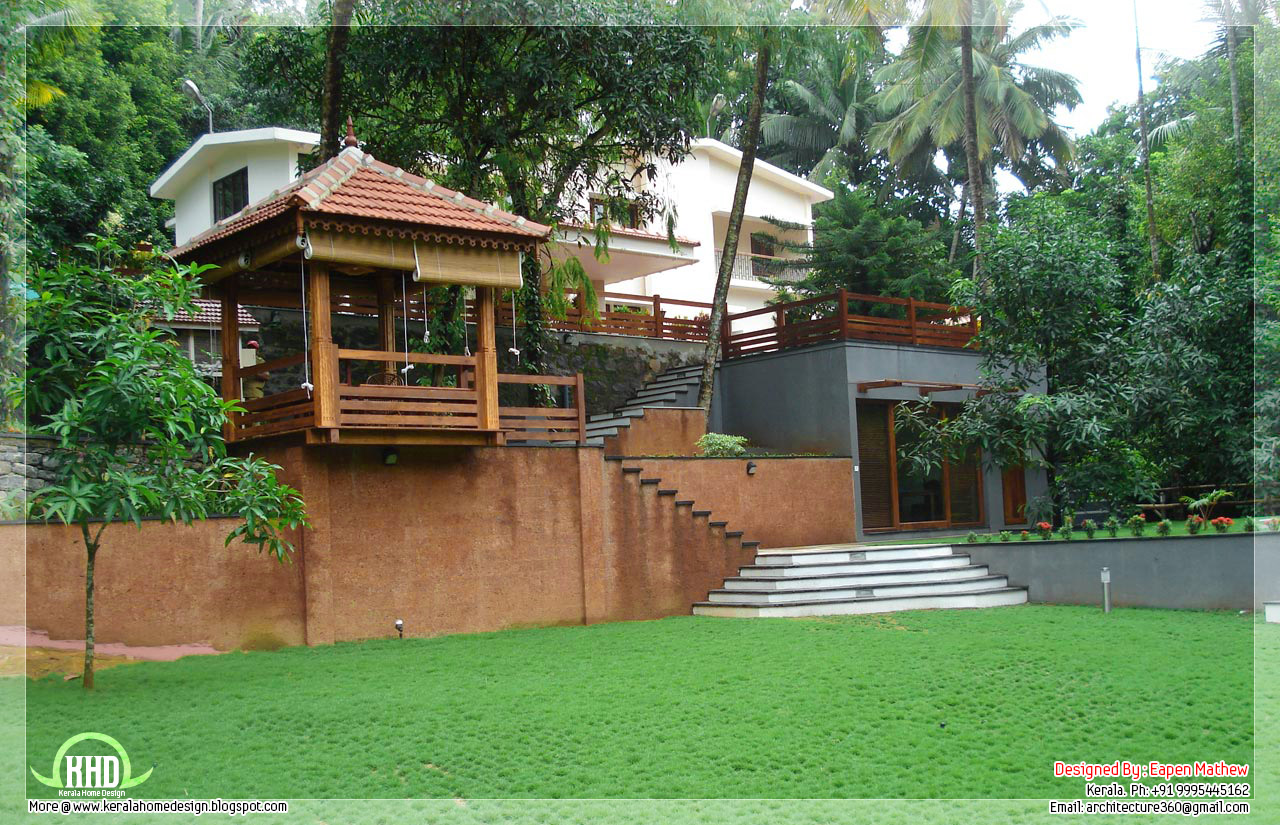 14 beautiful villa elevations kerala home design and for Kerala style garden designs