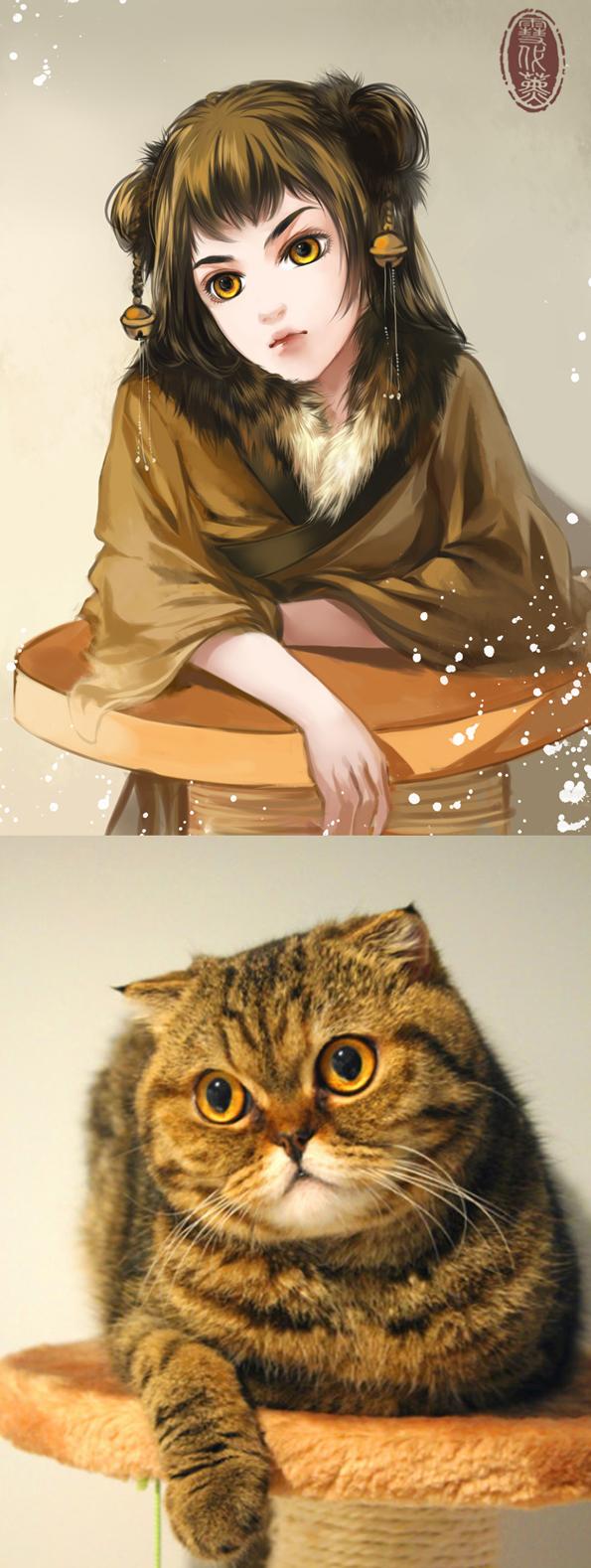 Kot narysowany jako kobieta z anime 11