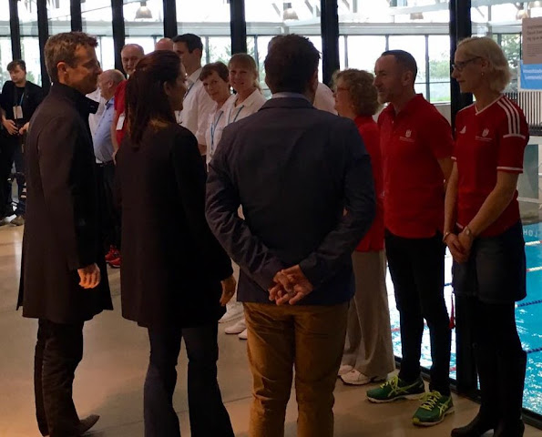 Crown Princess Mary and Crown Prince Frederik of Denmark attends the qualification regatta Danish Open at the Bellahoj Swimming Stadium