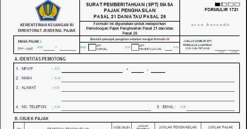 Tax Learning Formulir Spt Masa Pph Pasal 21 Terbaru Untuk Tahun 2014