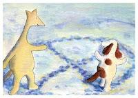 Postcard illustration of Hulmu Hukka and Haukku Spaniel playing tag in snow along paths.