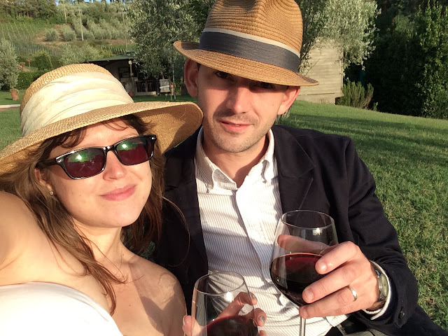 Katy & Paul drinking Chianti Red Wine Watching the Sunset in Tuscany, San Miniato, Italy