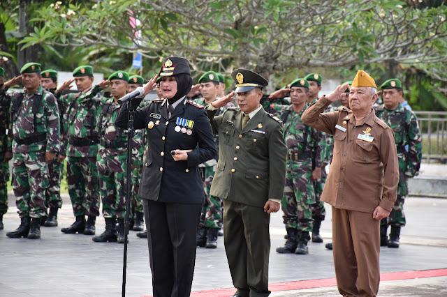 Polres Muba Bersama Kodim 0401 dan Para Veteran Upacara dan Tabur Bunga di Makam Pahlawan