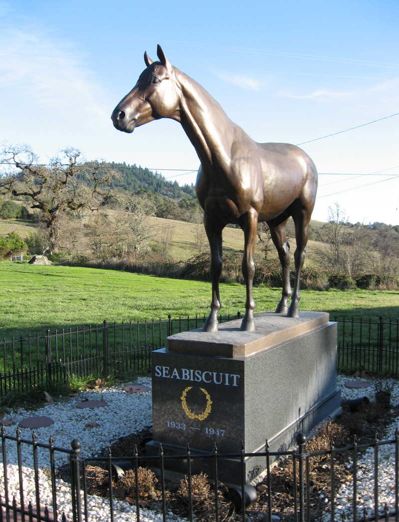 Life-size bronze Seabiscuit statue at historic Howard House- Ridgewood Ranch, Willits, CA
