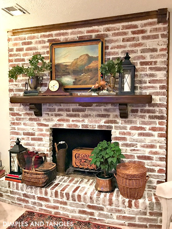 brick fireplace before and after, mortar wash tutorial, how to mortar wash brick fireplace