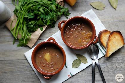 """""""Zuppa di fagioli lucani alla zucca"""" - Soupe de haricots rouges à la courge"""