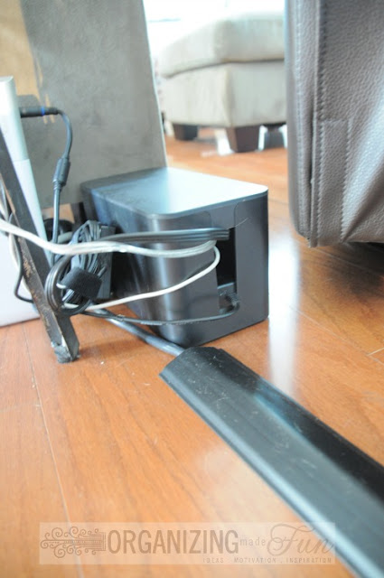 Keep cords near your couch organized and tidy using these tricks :: OrganizingMadeFun.com