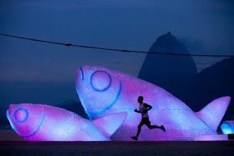 Ailleurs : The Big Fishes, sculptures en bouteilles recyclées sur la plage de Botafogo à l'occasion de la conférence Rio+20