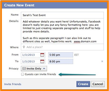 how to make an existing facebook event private