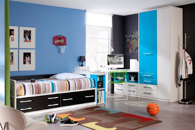 Kids Rooms .... Stunning Kids Playroom design with Awesome Blue wall painting style