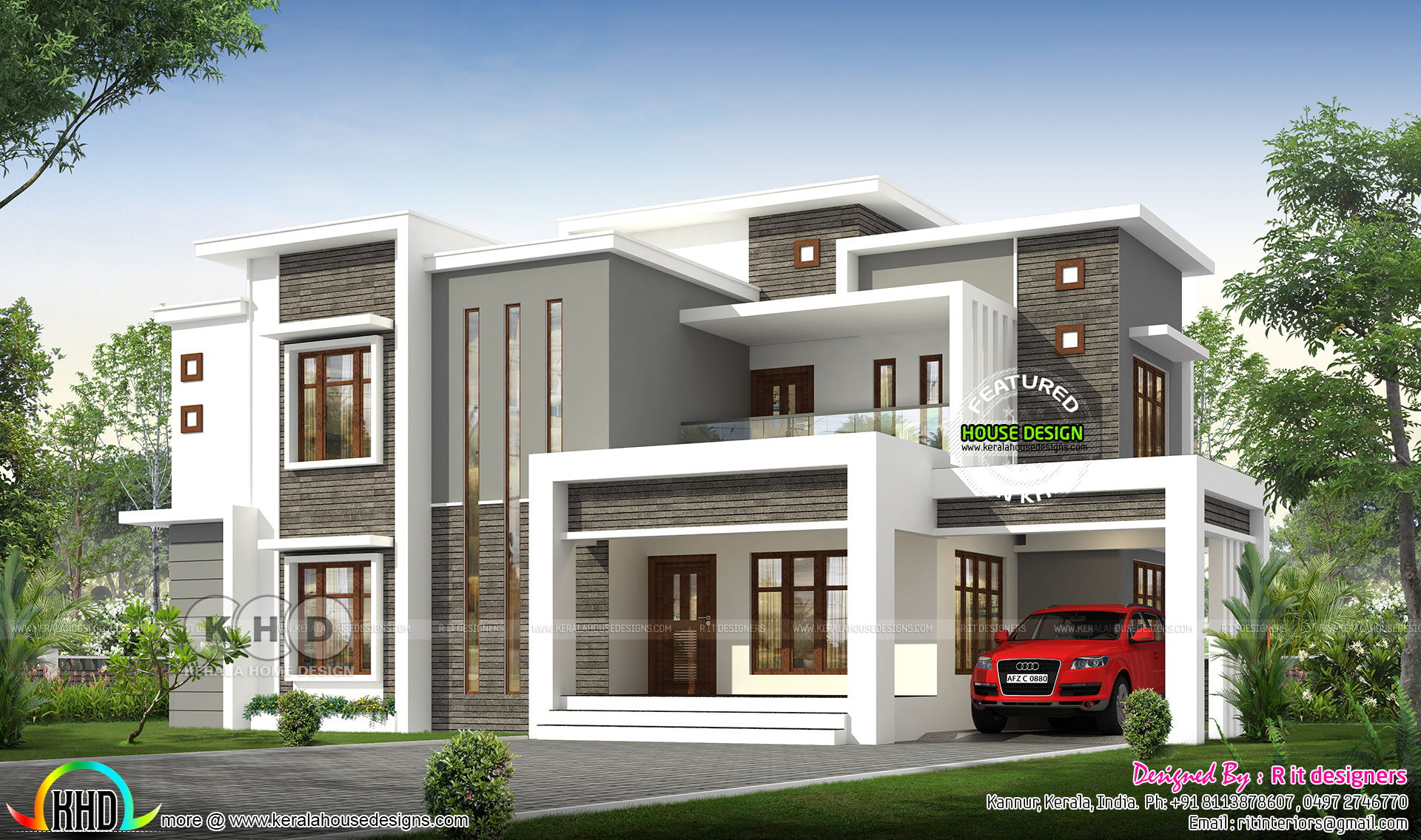 2496 sq-ft flat roof modern contemporary Kerala house ...