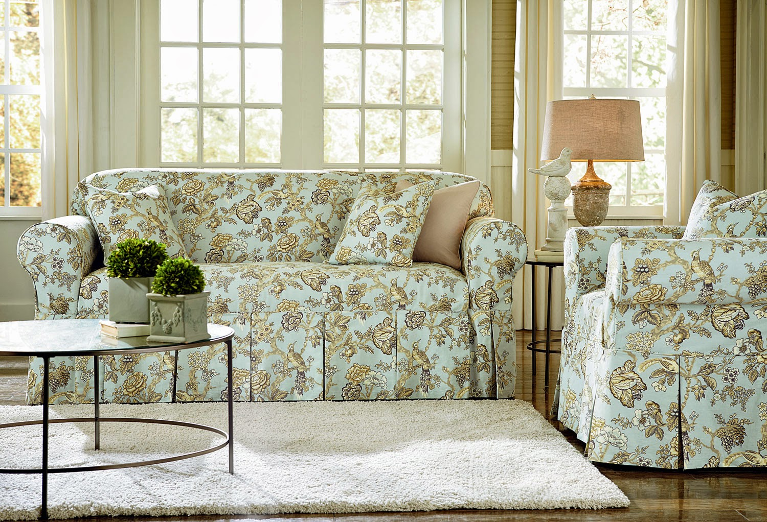 dining room chair slipcovers floral design | Sure Fit Slipcovers: Wallpaper and Slipcovers, Back in the ...