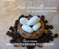 venta de almendras para boda con granos de café personalizadas  con iniciales en nido comestible para boda vintage bosque campestre en Guatemala