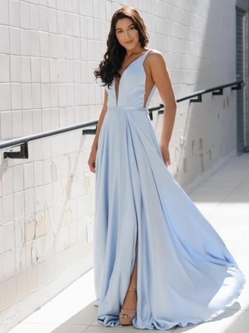 vestido de festa longo azul claro