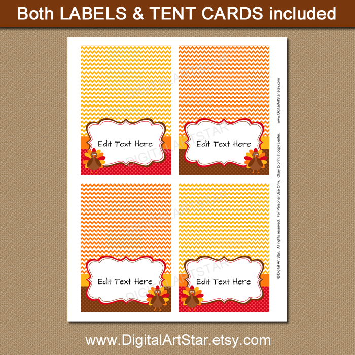 printable turkey buffet cards