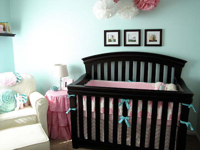 pink and aqua elephant baby bedding