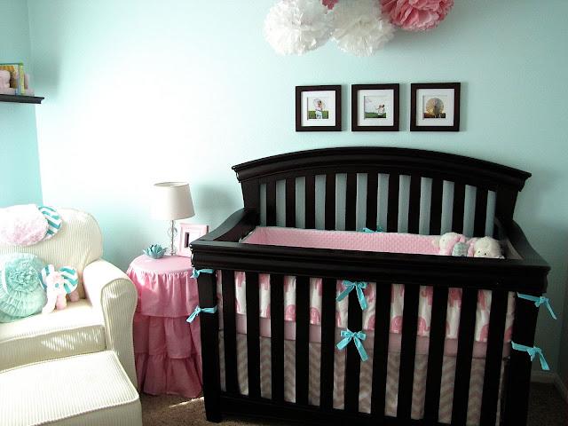 pink and aqua elephant baby bedding
