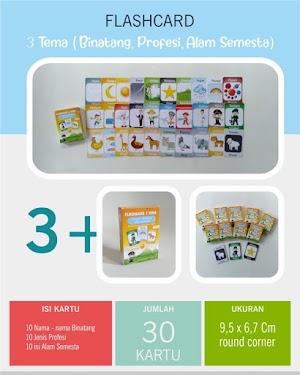 Flash Card 3 Tema (Binatang, Profesi, Alam Semesta)