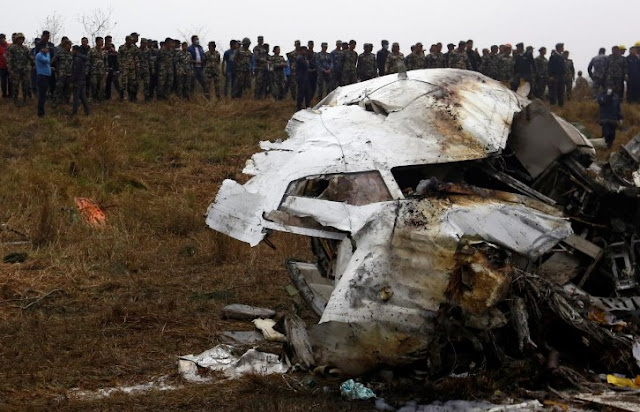 wreckage of Nepal plane crash