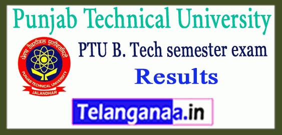 Punjab Technical University B.Tech 2nd 4th 6th 8th Semester Exam Results