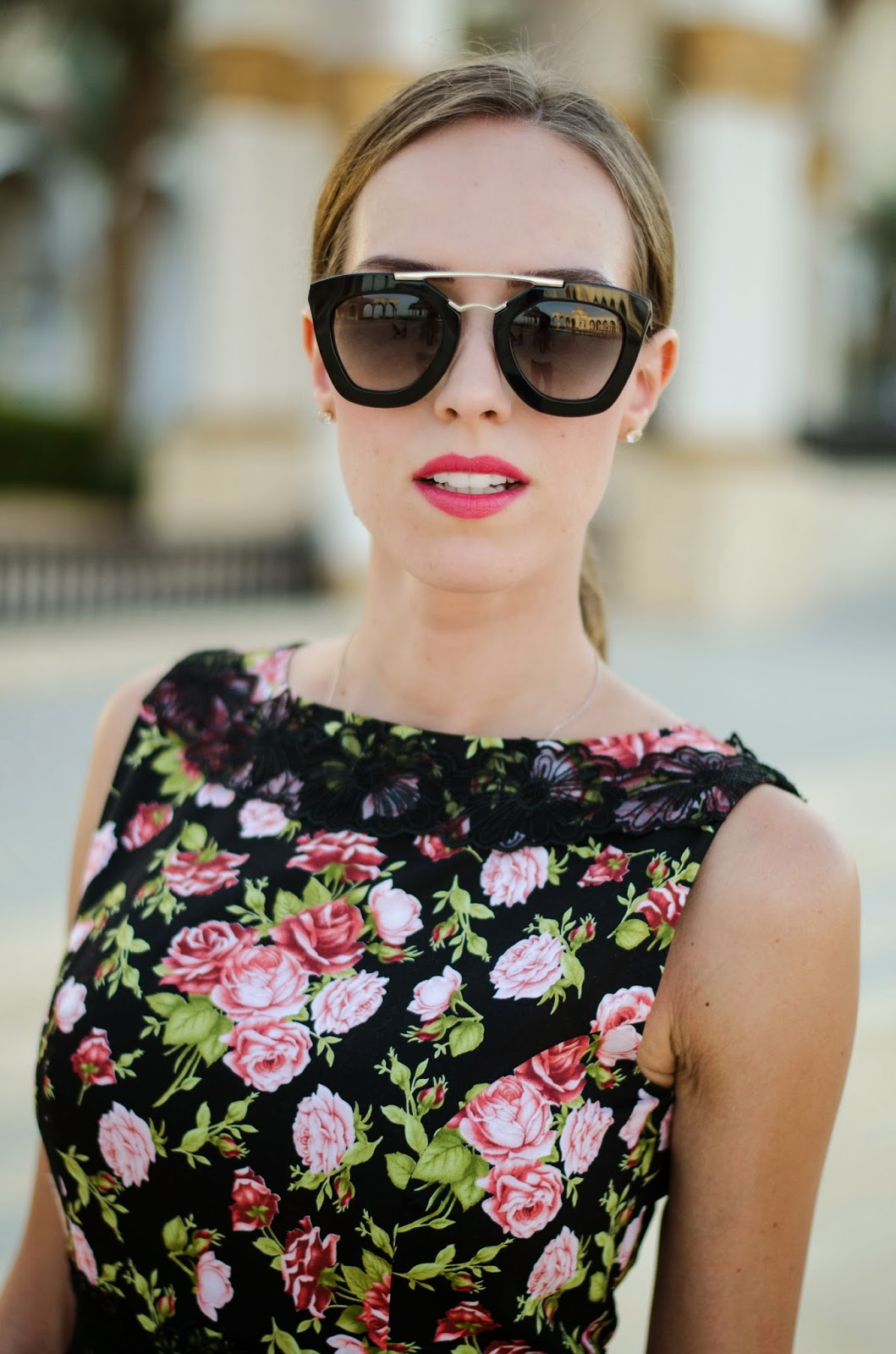 kristjaana mere floral maxi dress prada cinema sunglasses