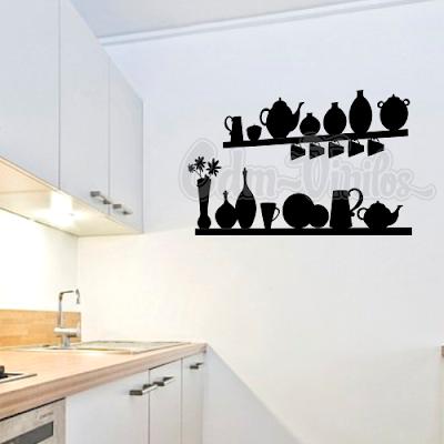 vinilo decorativo cocina repisa, florero, jarron, vasija, pocillo cafe,tetera, taza