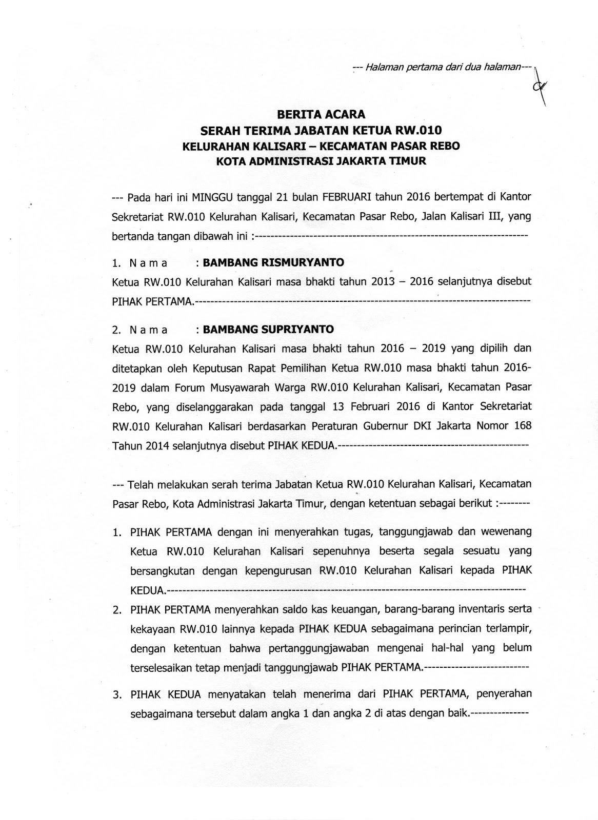 Rukun Warga 010 Kelurahan Kalisari Serah Terima Jabatan