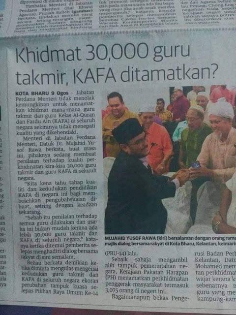 Khidmat 30,000 guru KAFA dan Takmir Ditamatkan?