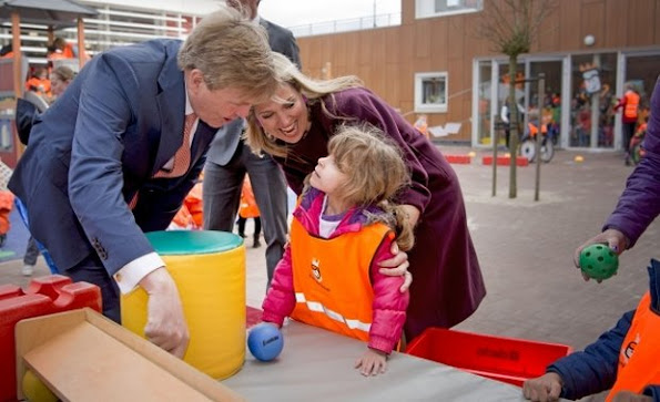 Queen Maxima and King Willem-Alexander of The Netherlands attend the Koningsspelen (King Games) at primary school Drostenburg for children with an disability in Amsterdam