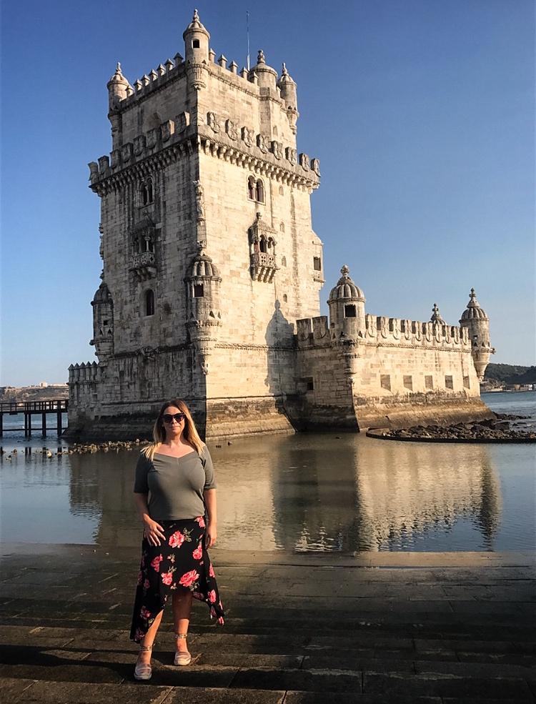 Posing at Belem Tower Lisbon