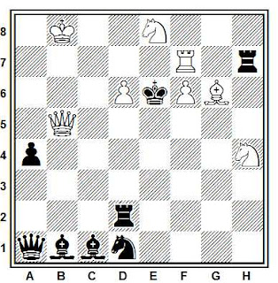 Problema de mate en 2 compuesto por Edgar Holladay (American Chess Problem 1949, 2º Premio)