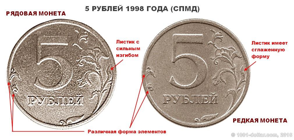 5 рублей с приспущенным знаком