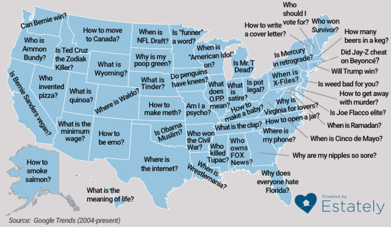 What questions does each state Google the most?