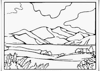 Sketsa Mewarnai Gambar Pemandangan Alam Pegunungan 20166
