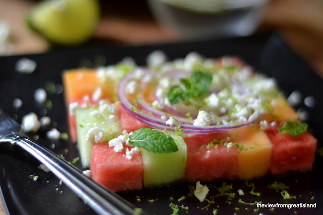 a cute melon salad in a checkerboard pattern