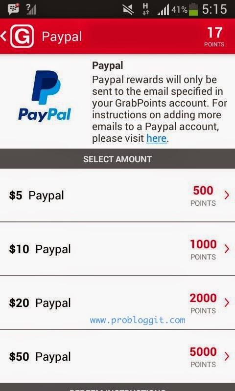 GrabPoints - Aplikasi Android Penghasil Uang Dollar Terbaru Selain Whaff