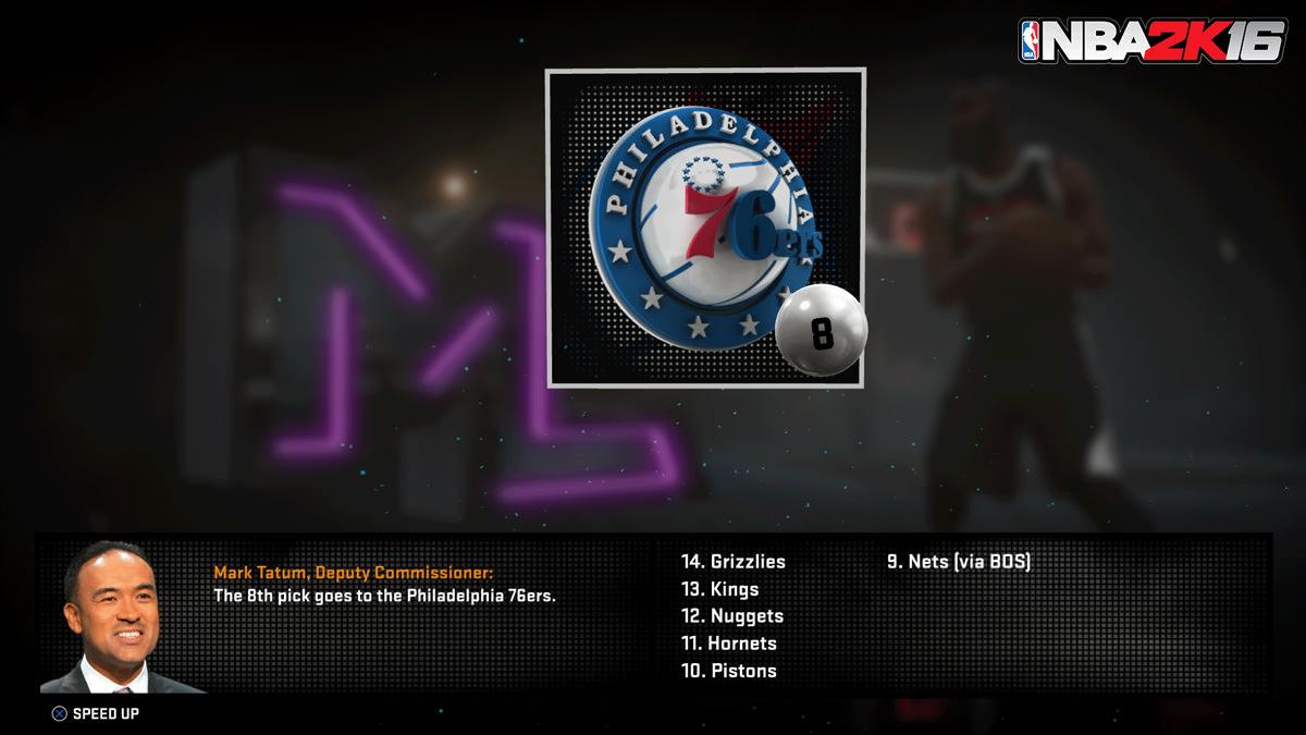 NBA 2k16 MyGM, MyLeague Modes : Draft Lottery
