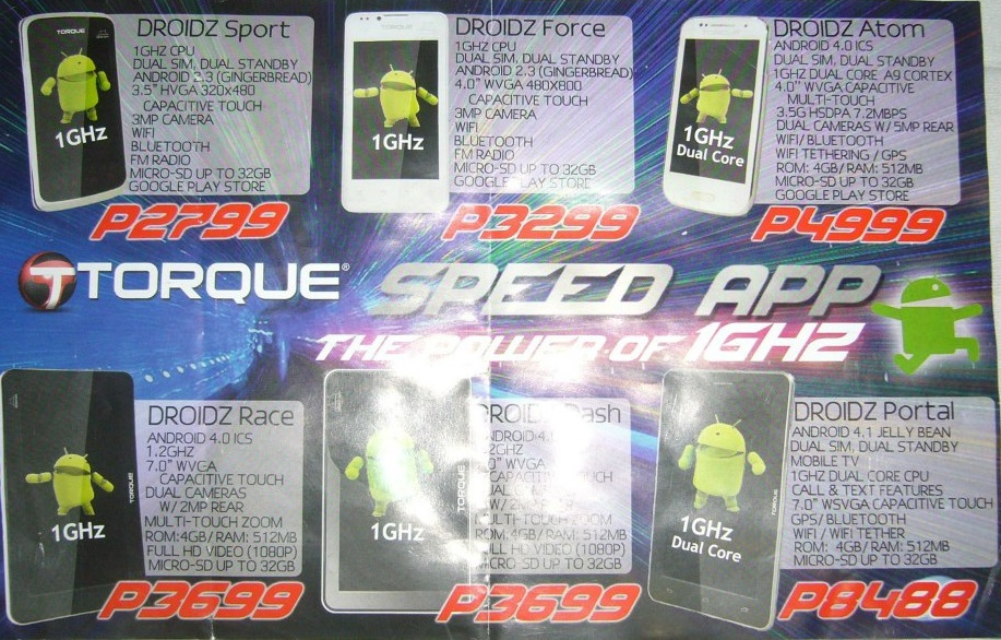 Torque Android Phones and Tablets Price List