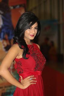 Actress Anisha Ambrose Latest Stills in Red Long Dress at Run Movie Audio Launch  0015.jpg