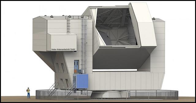 Computer design model of the CCAT-prime telescope. Credit: Vertex Antennentechnik GmbH/Provided