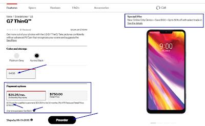 LG G7 ThinQ PreOrder on verizon.com