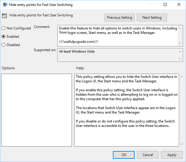Fast User Switching - Windows 10 Switch User Disable Tips