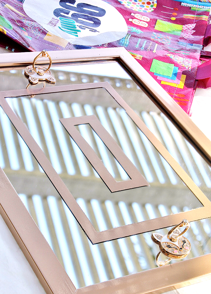 This elegant vanity tray was made with materials from the 99 Cents Only Stores for just $6, and everything on it was only another $6! #99YourMothersDay #DoingThe99 #AD