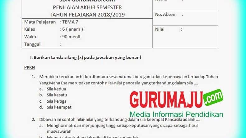Soal Uas Pas Kelas 6 Tema 7 Semester 2 Kurikulum 2013 Revisi 2018 Guru Maju