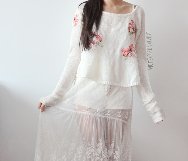 b95bc412a4c A ulzzang-inspired all-white look featuring SheIn s white sheer lace maxi  slip dress