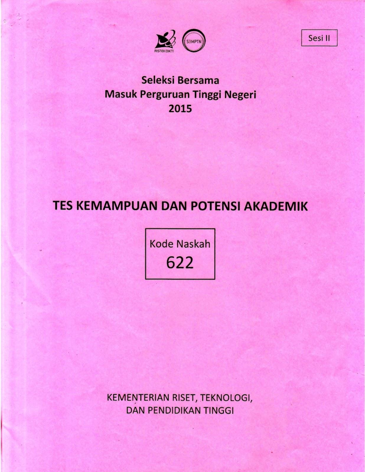 Berbagi Dan Belajar Naskah Soal Sbmptn 2015 Tes Kemampuan Dan Potensi Akademik Tkpa Kode Soal 622